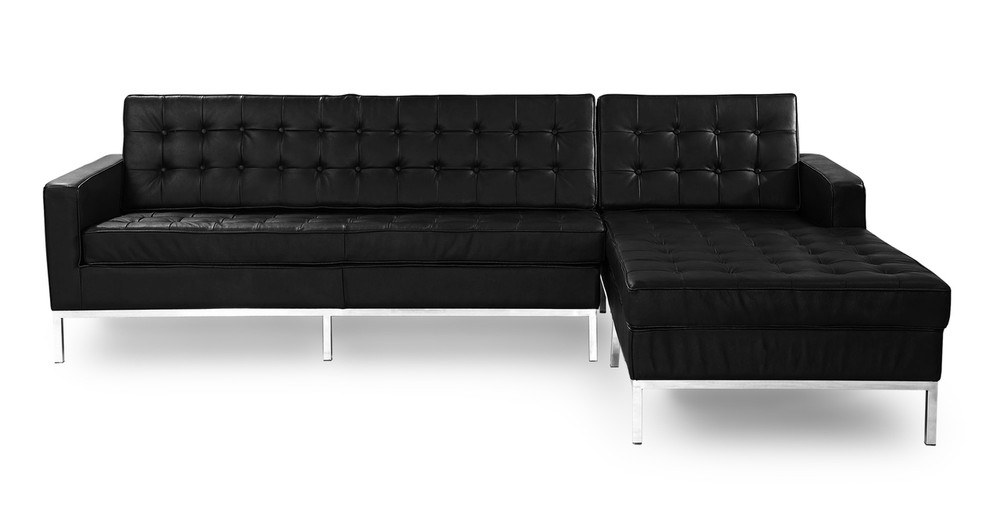 Florence Right Sectional, Black Leather