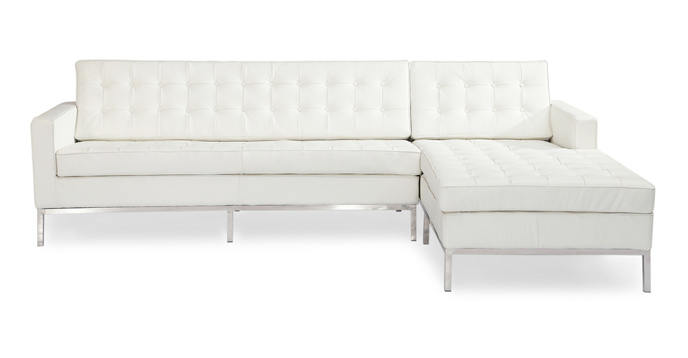 Florence Right Sectional, Cream White Premium Leather