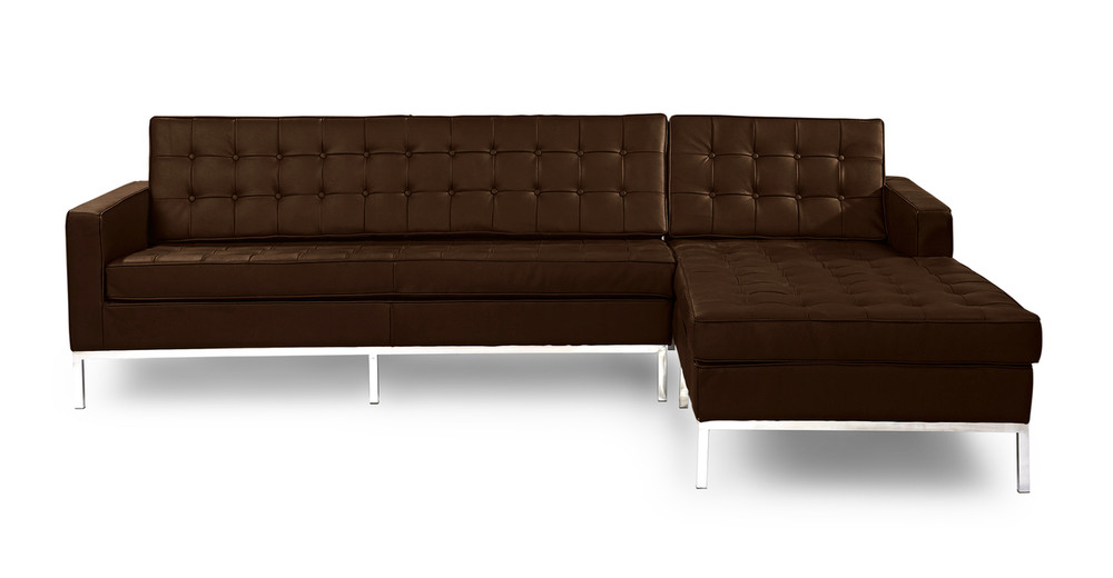 Florence Right Sectional, Espresso Leather