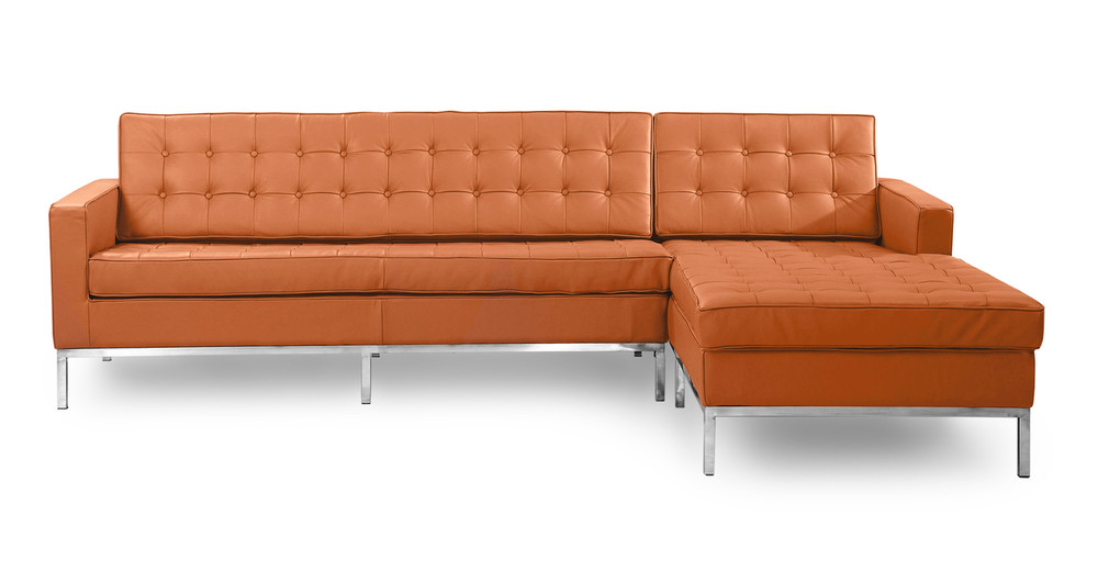 Florence Right Sectional, Luxe Camel Leather