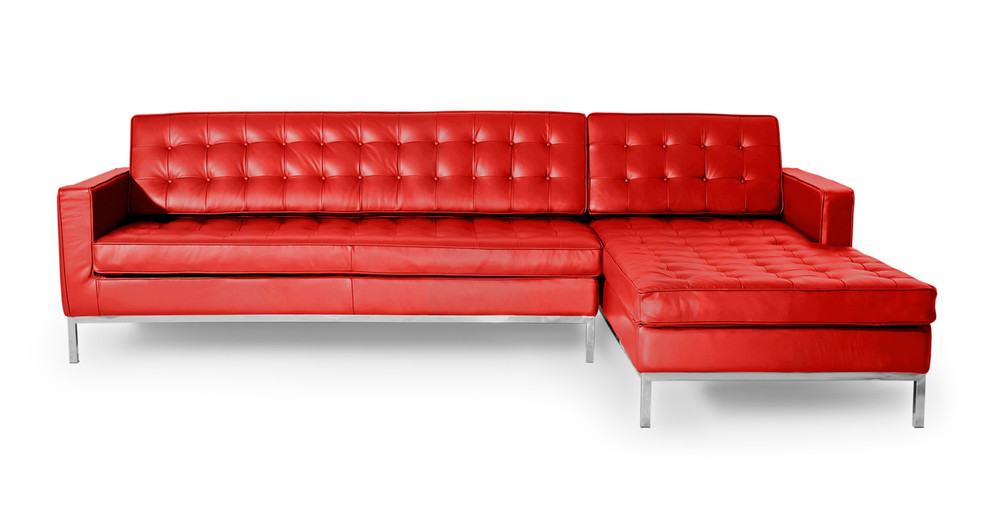 Florence Right Sectional, Red Premium Leather