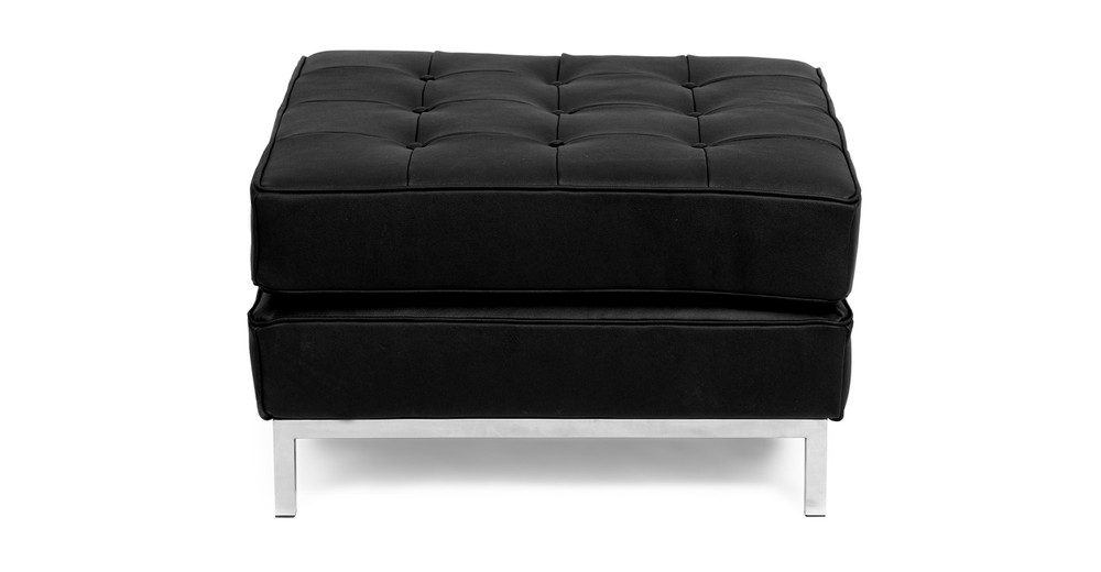 Florence Ottoman, Black Leather