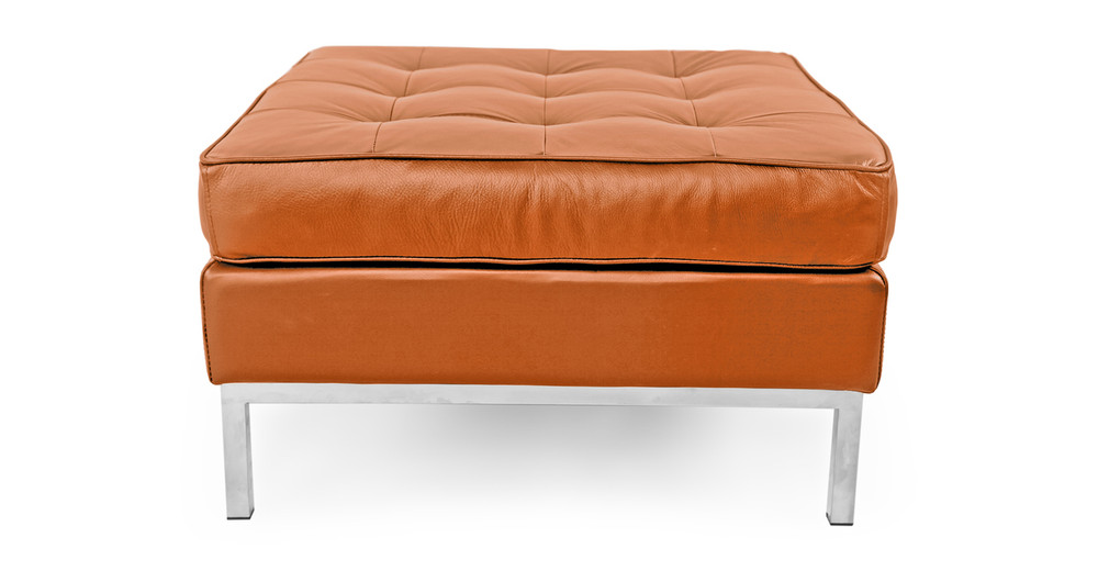 Florence Ottoman, Caramel Premium Leather