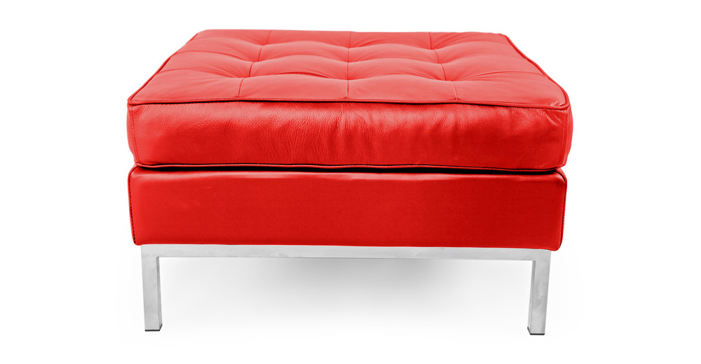 Florence Ottoman,  Red Premium Leather