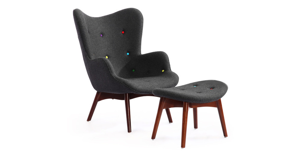 Contour Chair & Ottoman, Charcoal/Rainbow Buttons