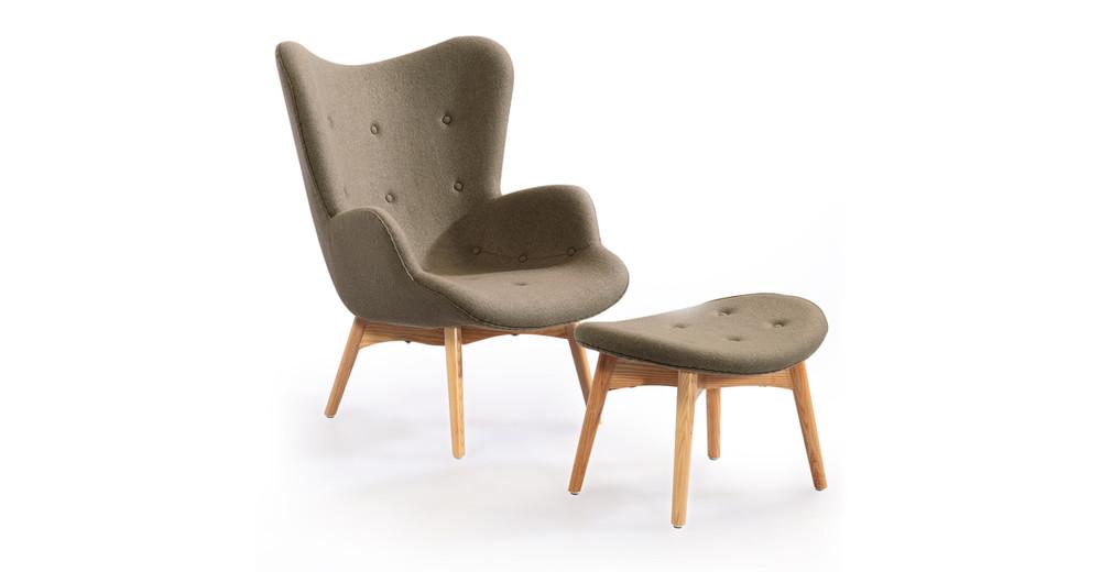 Contour Chair & Ottoman, Latte