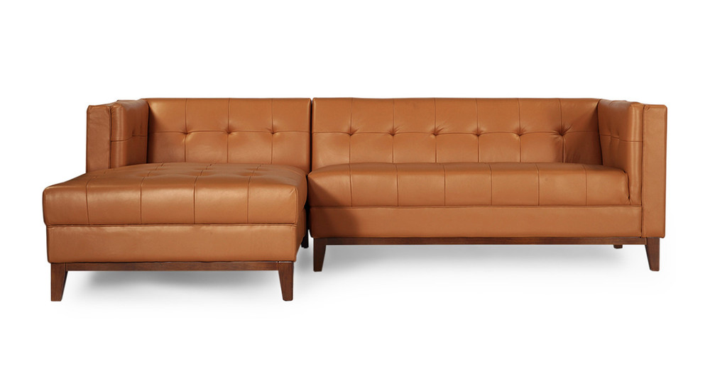 Harrison Chaise Sectional-Left, Saddle Brown Premium Leather