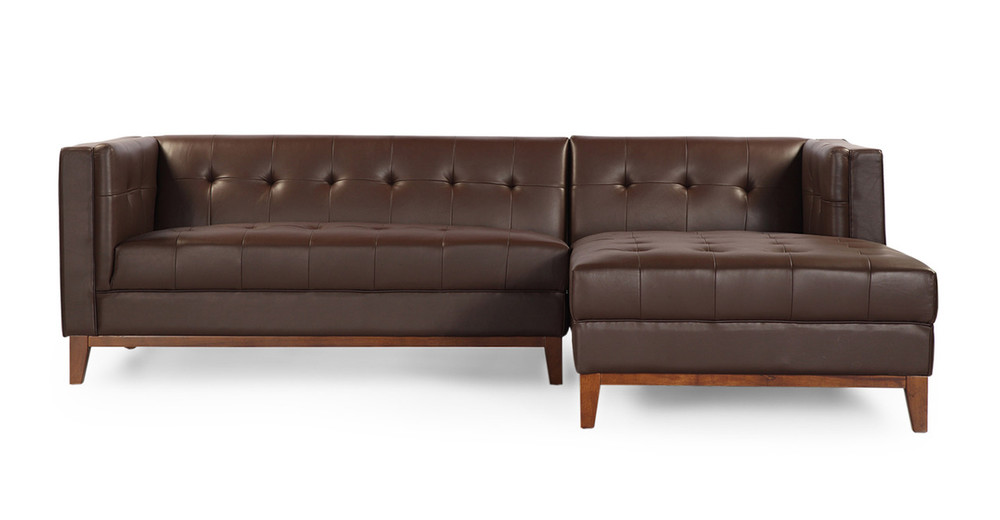 Harrison Chaise Sectional-Right,  Bolivarian Brown Premium Leather