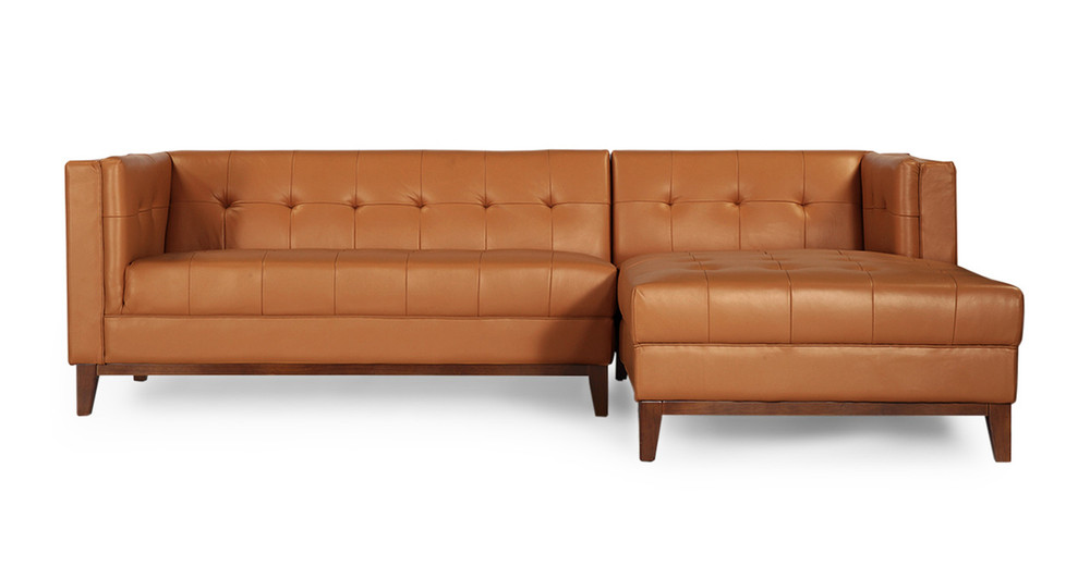 Harrison Chaise Sectional-Right,  Saddle Brown Premium Leather