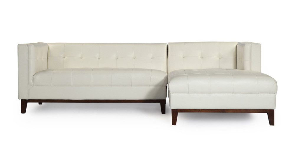 Harrison Chaise Sectional-Right,  White Premium Leather