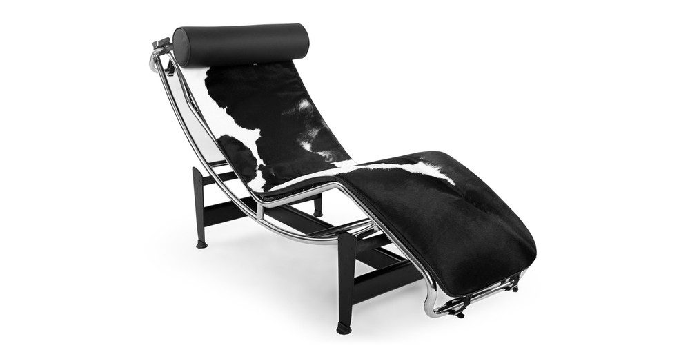 Gravity Chaise Lounge, Black/White Cowhide