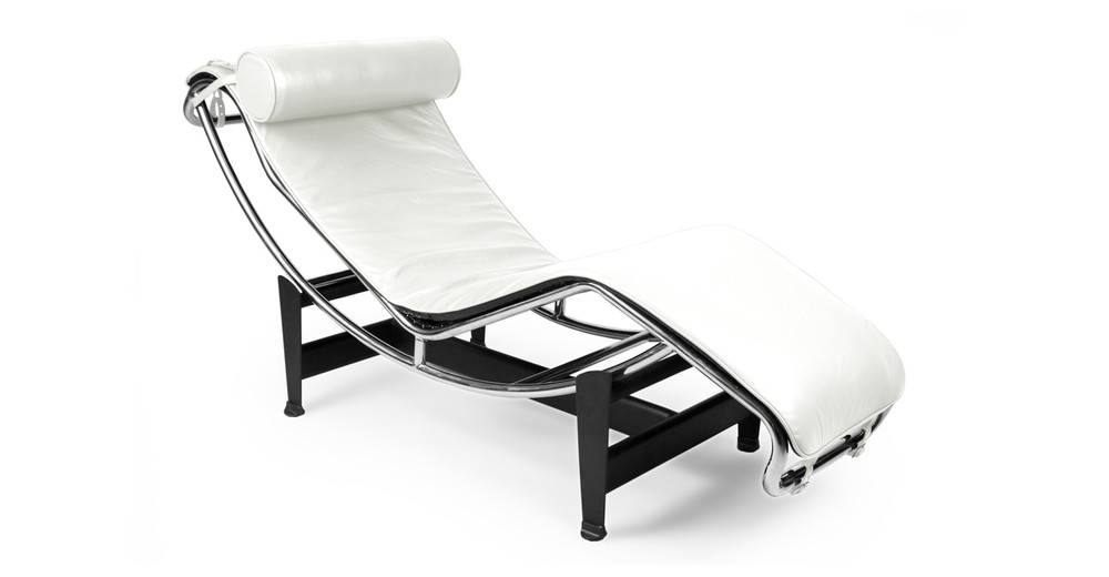 Gravity Chaise Lounge, Cream White Aniline Leather