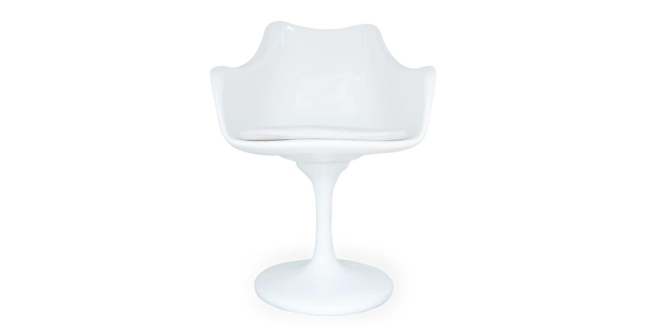 Superb Tulip Armchair, White Wool
