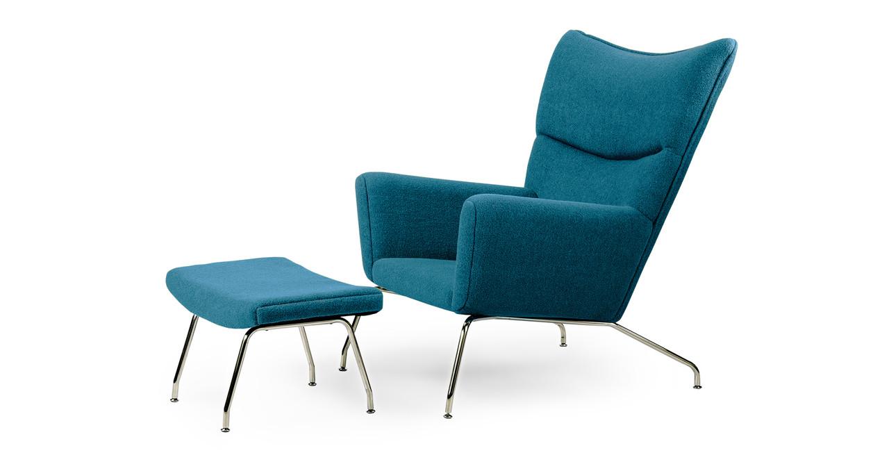Wegner Wing Chair & Ottoman, Caribbean - Kardiel