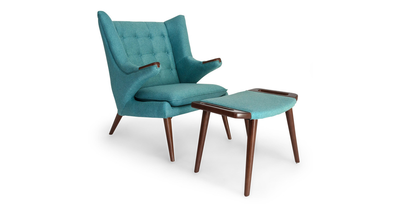 Papa Bear Chair & Ottoman, Dutch Blue - Kardiel