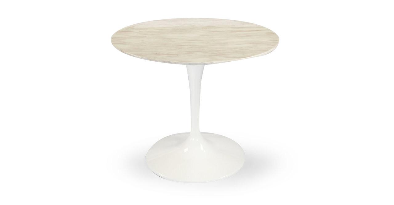Tulip Table White Marble Round Kardiel - White tulip table 48