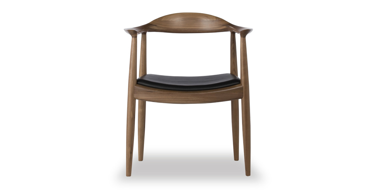 Incroyable Wegner President Chair, Black Leather/Real Walnut