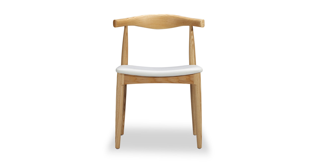 Delicieux Wegner Elbow Chair, White Leather/Ash Natural
