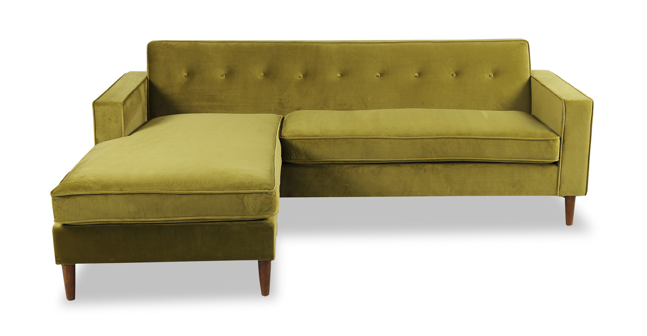 Genial Eleanor Bi Sectional Sofa, Olive Velvet