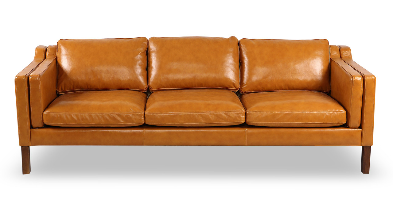 Charmant Monroe Sofa, Tan Aniline Leather