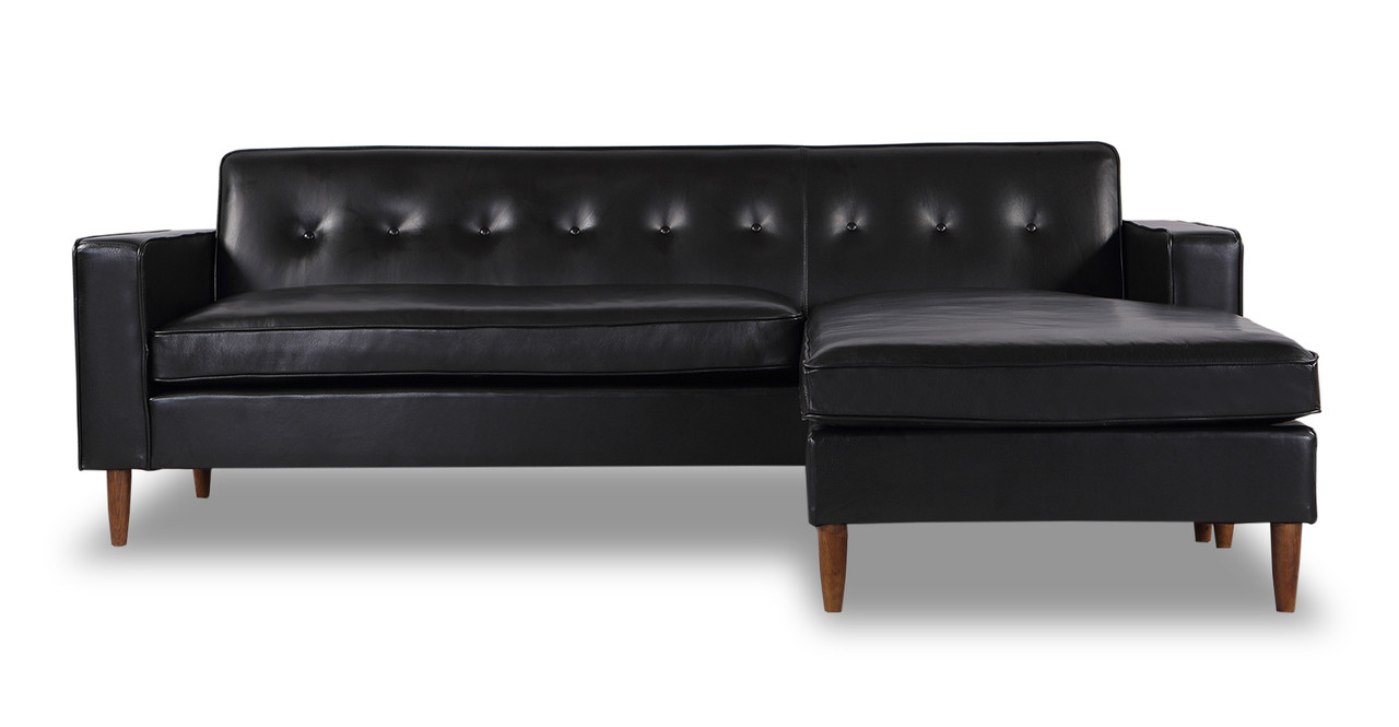 Eleanor Sofa Sectional Right Chaise, Black Aniline Leather
