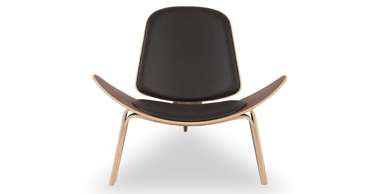 tripod chair brown italian leather walnut kardiel