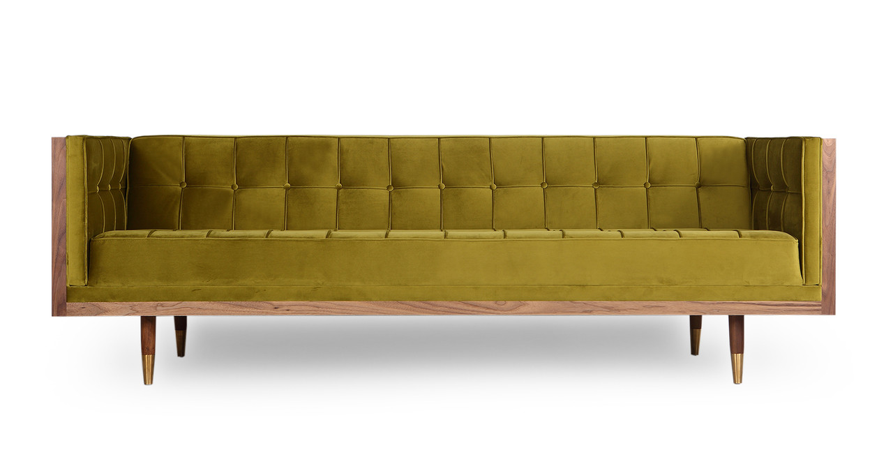 Woodrow Box Sofa, Walnut/Olive Velvet