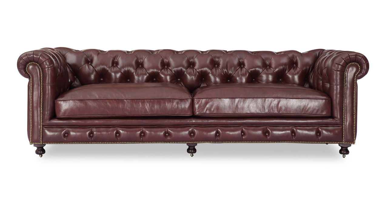 Chesterfield Sofa Malbec Vintage Distressed Leather