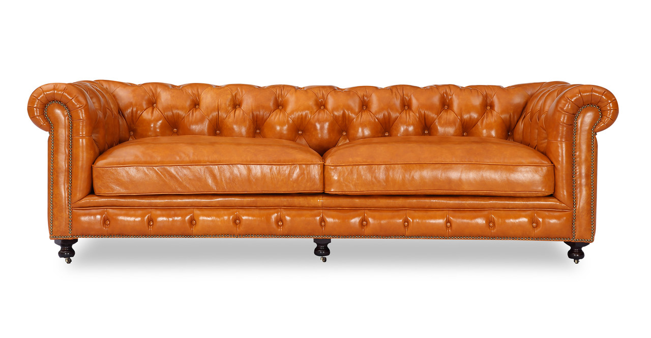 Chesterfield Sofa Maple Vintage Distressed Leather