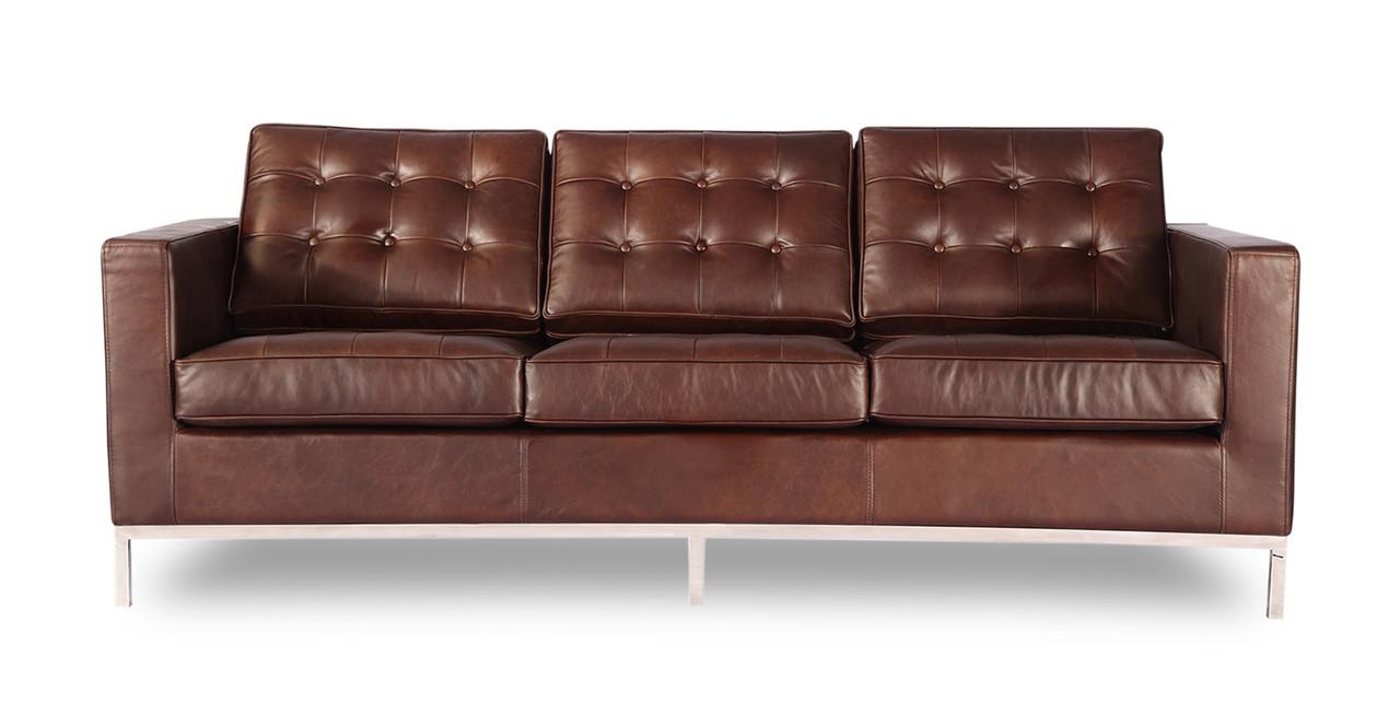 Florence Sofa, Vintage Brown Premium Distressed Leather