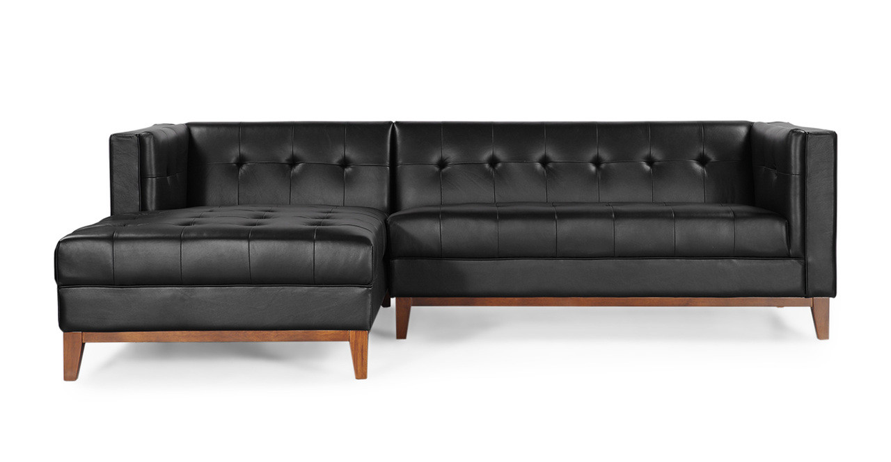 Harrison chaise sectional left black premium leather for Black leather sectional with chaise