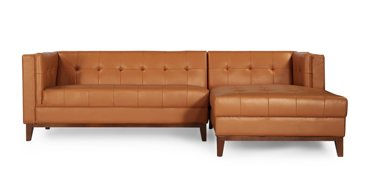 Harrison Chaise Sectional Right, Saddle Brown Premium Leather