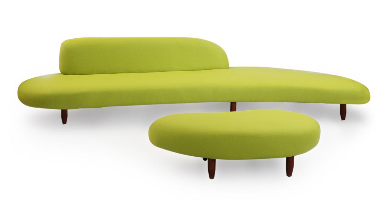 Kidney Bean Sofa U0026 Ottoman, Lime Green