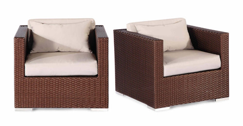 Hilo 2 Pc Armchair Set, Espresso Wicker/Grey