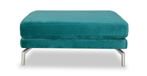 Basil Loft Ottoman, Peacock Plush