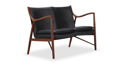 Copenhagen 45 Loveseat, Black Italian Leather/Walnut