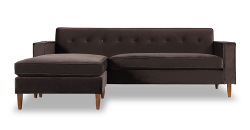 Eleanor Bi Sectional Sofa, Shadow Velvet