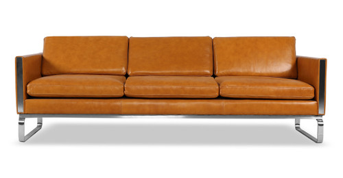 mid century modern leather couch. Amsterdam Sofa, Tan Aniline Leather Mid Century Modern Couch