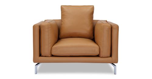 Basil Loft Arm Chair, Saddle Aniline Leather