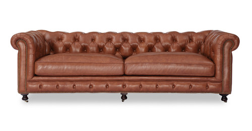 Chesterfield Sofa, Cognac Vintage Distressed Leather