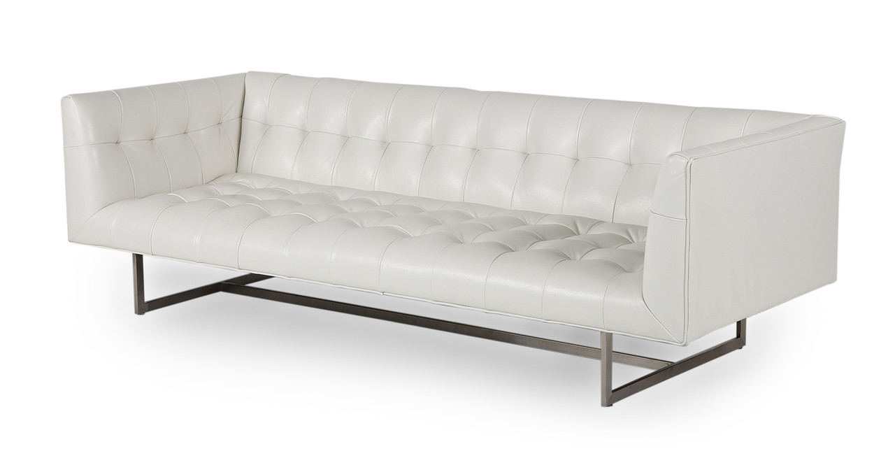 Edward Sofa, White Aniline Leather