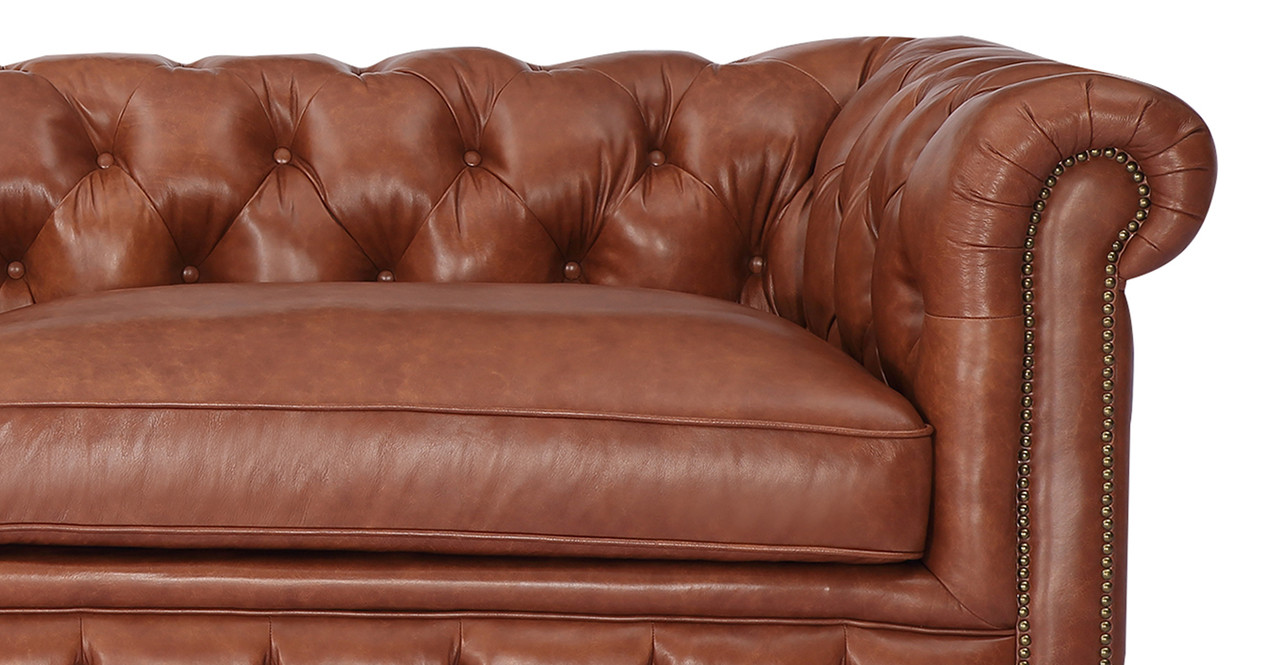 Chesterfield Sofa Cognac Vintage Distressed Leather Kardiel