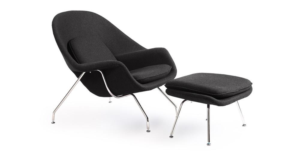 Womb Chair U0026 Ottoman, Charcoal ...