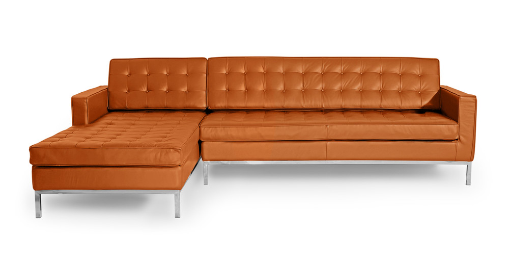 Florence left sectional caramel premium leather kardiel for Bartlett caramel left corner chaise sectional