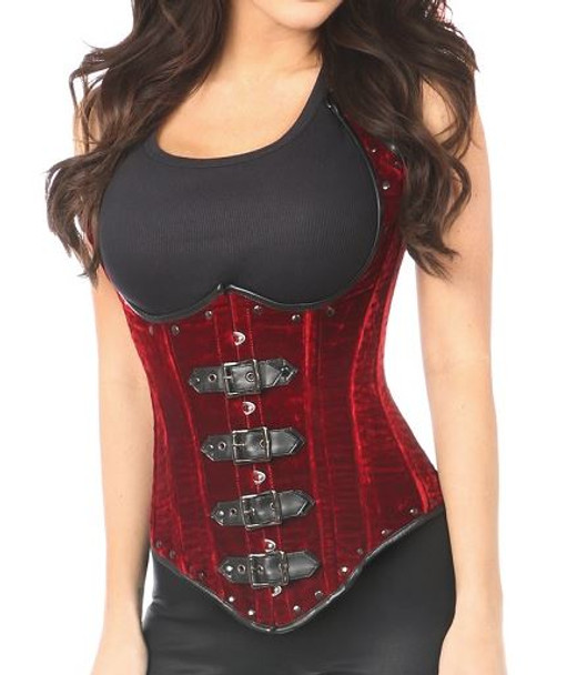 Red Velvet Waistcoat Steel boned Corset