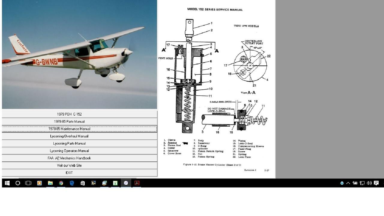 cessna 152 aircraft service maintenance manual plus engine overhaul rh repairmanuals4u com cessna 172 maintenance manual part number cessna 172 maintenance manual free