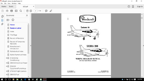 Beechcraft Baron Electrical Wiring Manuals B55 B56 B58