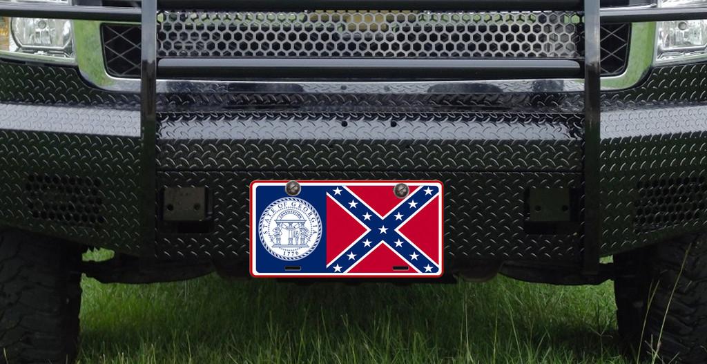 Georgia State Flag Confederate Car Tag License Plate