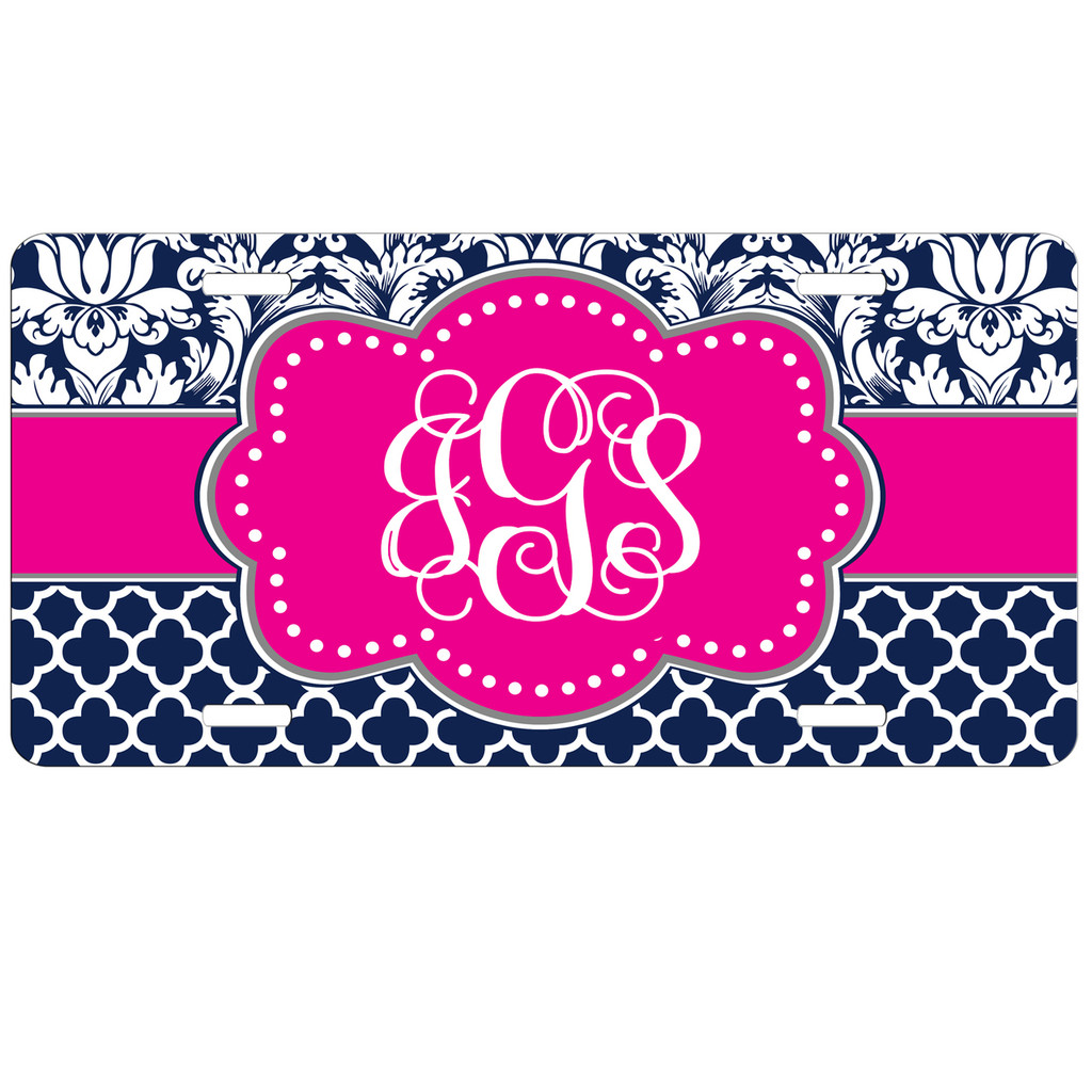 Monogrammed Car Tag - Navy Damask Quatrefoil Hot Pink