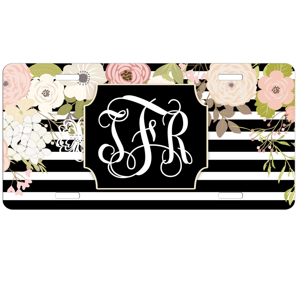 Monogrammed Car Tag - Vintage Floral Black Stripes